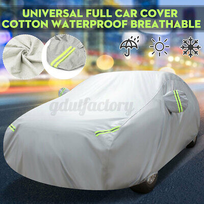 M Full Car Cover Cotton Waterproof Breathable Snow UV Protection Indoor Outdoor • 23.99£