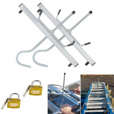 2 Locks Universal Heavy Duty Ladder Roof Rack Clamp Clamps Lockable Safe Ladders • 13.49£