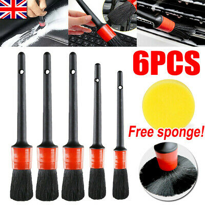 6Pcs Car Detailing Brush Set Detail For Cleaning Wheels Engine Emblems Air Vents • 6.89£