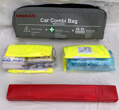Nissan Juke Micra Note Qashqai Car Combi Bag First Aid Safety Kit With Vest NEW • 14.99£