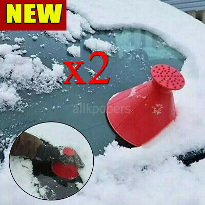 2X Magical Car Windshield Ice Snow Remover Scraper Tool Shaped Round Funnel Cone • 3.39£