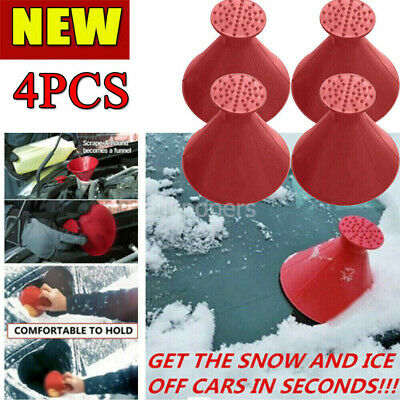 4X Magical Car Windshield Ice Snow Remover Scraper Tool Shaped Round Funnel Cone • 5.58£