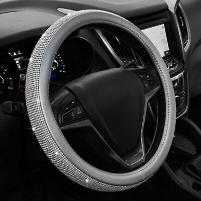 PU Leather Car SUV Steering Wheel Bling Crystal Sparkled Diamond Cover Soft • 12.81£