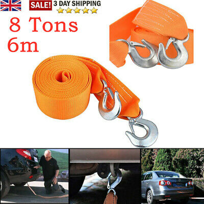 UK 8T 6M Tow Rope Heavy Duty Car Towing Pull Strap Road Recovery 2 Shackle 4x4 • 9.79£
