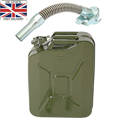 20L Metal Jerry Can Car Storage Fuel Petrol Diesel Container Green & Flexi Spout • 22.99£