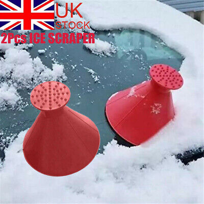 2X Magical Car Windshield Ice Snow Remover Scraper Tool Shaped Round Funnel Cone • 5.79£