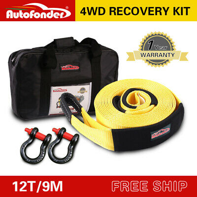 Recovery Kit 12T 9M*75MM Heavy Duty 4WD Snatch Strap+2 Bow Shackle • 37.99£