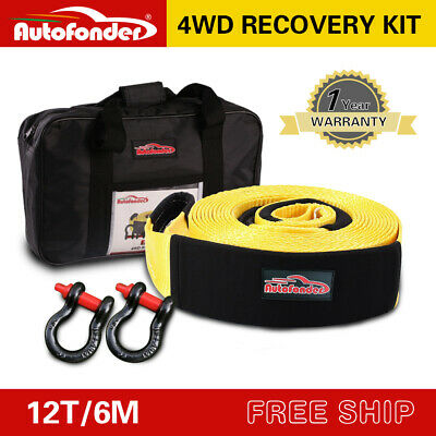 Heavy Duty 75mm*6M 12T Recovery Kit 4WD Tow Strap +2 Bow Shackle • 31.34£