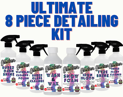8 Piece Car Valeting Interior Exterior Kit Wash Cleaning Polish Detailing Alloy • 23.99£