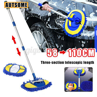 Telescopic Car Wash Brush W/ Water Flow Fuintion Vehicle Cleaning Chenille Mop  • 15.99£