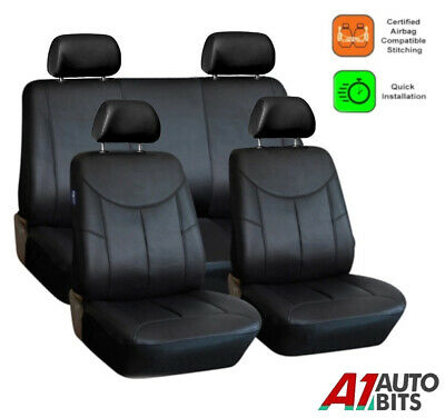 Universal Black Heavy Duty Leather Look Car Seat Covers Set New • 23.99£
