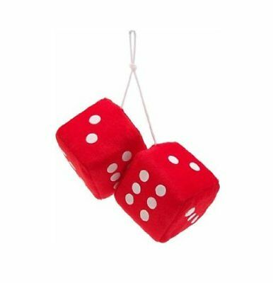 Retro Red / White Soft Fluffy Furry Car & Home Hanging Mirror Spotty Dice Lucky • 4.65£