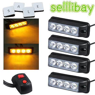 4x 4 Leds Car Flashing Warning Recovery Vehicle Bar Beacon Amber Strobe Lighting • 25.25£