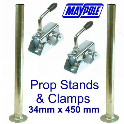 PAIR - Maypole Trailer Prop Stands & Clamps MP220 MP222 Trailer Tow Bar Tow Ball • 20.85£