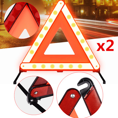 2X Triangle Warning Sign Car Road Emergency Reflective Breakdown Safety Signs • 8.01£