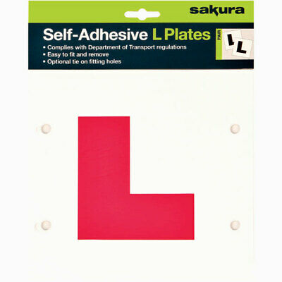 Self-Adhesive L Plates Stick Tie On Pair Learner Driver Plate - Sakura LP102 • 0.99£
