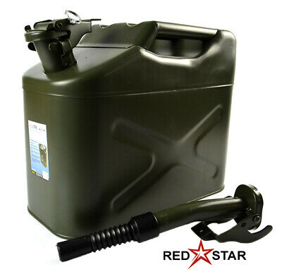 10L Metal Jerry Can Green Car Storage Fuel Petrol Diesel Container & Flexi Spout • 15.95£
