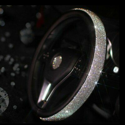 Car Steering Wheel Crystal Sparkled Diamond Cover PU Leather Skidproof Bling • 11.59£