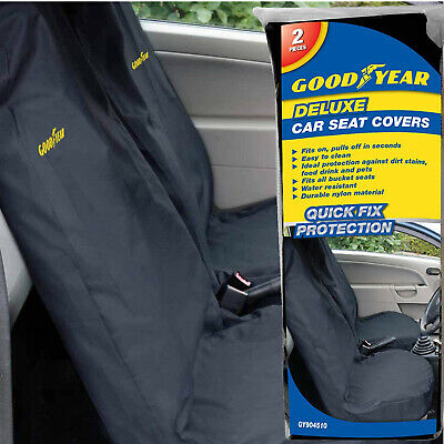 Goodyear 2 X Car Front Seat Covers Durable Water Resistant Protector Dirt Van • 14.99£