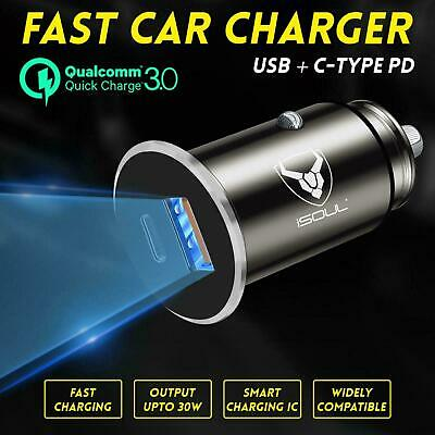 Car Charger Fast USB C PD 2 Port For IPhone Samsung LG HTC Socket Adapter 12-24V • 6.49£