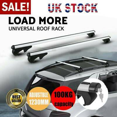 Universal Lockable Aluminium Car Roof Rack Bars Rail Anti Theft Luggage Carrier • 28.99£