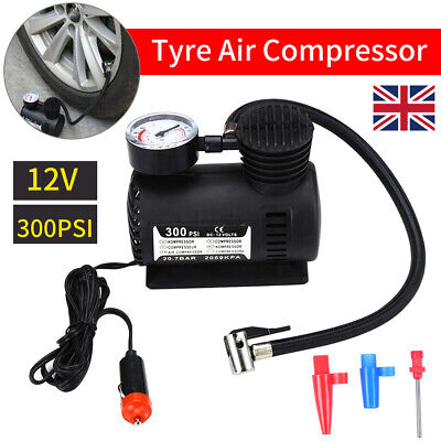 HEAVY DUTY POWERFUL 300psi 12V ELECTRIC CAR TYRE INFLATOR AIR COMPRESSOR PUMP BE • 8.59£