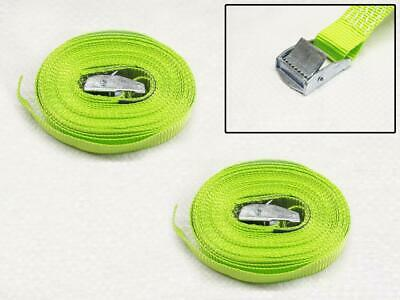 CamBuckle Tie Down Straps Hi Vis 25MM 5M X2 (Lashing Strap Secure Hold) • 6.95£